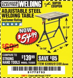 Harbor Freight Coupon ADJUSTABLE STEEL WELDING TABLE Lot No. 63069/61369 Valid Thru: 7/19/19 - $54.99