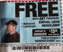 Harbor Freight FREE Coupon HEADLAMP WITH SWIVEL LENS Lot No. 45807/61319/63598/62614 Expired: 6/25/18 - FWP