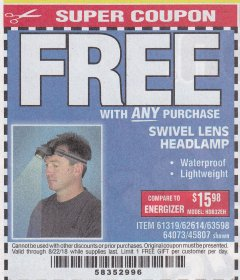 Harbor Freight FREE Coupon HEADLAMP WITH SWIVEL LENS Lot No. 45807/61319/63598/62614 Valid Thru: 8/22/18 - FWP
