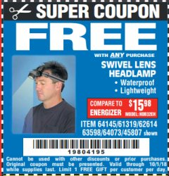 Harbor Freight FREE Coupon HEADLAMP WITH SWIVEL LENS Lot No. 45807/61319/63598/62614 Valid Thru: 10/1/18 - FWP