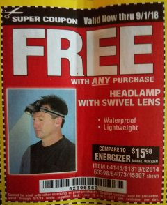 Harbor Freight FREE Coupon HEADLAMP WITH SWIVEL LENS Lot No. 45807/61319/63598/62614 Valid Thru: 9/1/18 - FWP