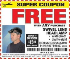 Harbor Freight FREE Coupon HEADLAMP WITH SWIVEL LENS Lot No. 45807/61319/63598/62614 Valid Thru: 12/19/18 - FWP