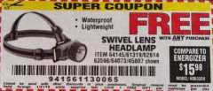 Harbor Freight FREE Coupon HEADLAMP WITH SWIVEL LENS Lot No. 45807/61319/63598/62614 Expired: 1/31/19 - FWP
