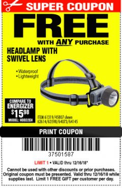 Harbor Freight FREE Coupon HEADLAMP WITH SWIVEL LENS Lot No. 45807/61319/63598/62614 Expired: 12/16/18 - FWP