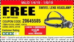 Harbor Freight FREE Coupon HEADLAMP WITH SWIVEL LENS Lot No. 45807/61319/63598/62614 Expired: 4/2/19 - FWP