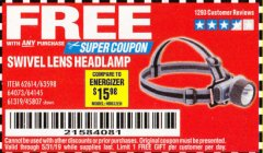 Harbor Freight FREE Coupon HEADLAMP WITH SWIVEL LENS Lot No. 45807/61319/63598/62614 Valid Thru: 5/31/19 - FWP