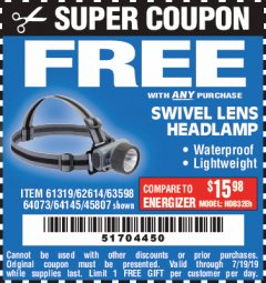 Harbor Freight FREE Coupon HEADLAMP WITH SWIVEL LENS Lot No. 45807/61319/63598/62614 Expired: 7/19/19 - FWP