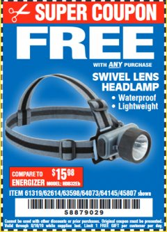 Harbor Freight FREE Coupon HEADLAMP WITH SWIVEL LENS Lot No. 45807/61319/63598/62614 Expired: 8/15/19 - FWP