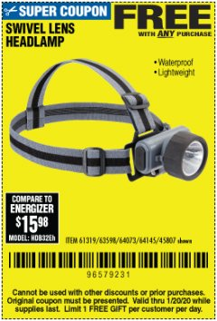 Harbor Freight FREE Coupon HEADLAMP WITH SWIVEL LENS Lot No. 45807/61319/63598/62614 Expired: 1/20/20 - FWP
