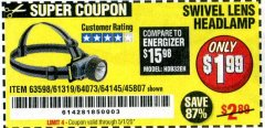 Harbor Freight Coupon HEADLAMP WITH SWIVEL LENS Lot No. 45807/61319/63598/62614 Expired: 6/30/20 - $1.99