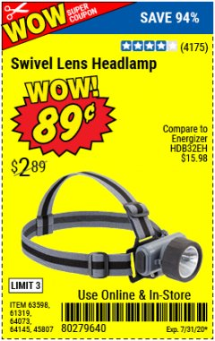 Harbor Freight Coupon HEADLAMP WITH SWIVEL LENS Lot No. 45807/61319/63598/62614 Expired: 7/31/20 - $0.89