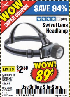 Harbor Freight Coupon HEADLAMP WITH SWIVEL LENS Lot No. 45807/61319/63598/62614 Expired: 9/13/20 - $0.89