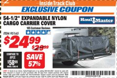 "Harbor Freight ITC Coupon 54-1/2"" EXPANDABLE NYLON CARGO CARRIER COVER Lot No. 95165 Expired: 3/31/19 - $24.99"