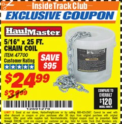 Harbor Freight ITC Coupon 5/16'' X 25 FT. CHAIN COIL Lot No. 47700 Expired: 7/22/18 - $24.99