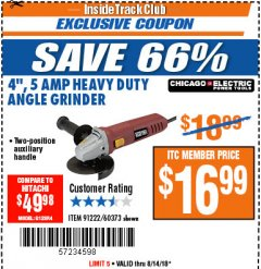 Harbor Freight ITC Coupon 4'', 5 AMP HEAVY DUTY ANGLE GRINDER Lot No. 60373 Expired: 8/14/18 - $16.99