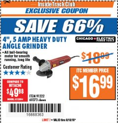Harbor Freight ITC Coupon 4'', 5 AMP HEAVY DUTY ANGLE GRINDER Lot No. 60373 Expired: 9/18/18 - $16.99