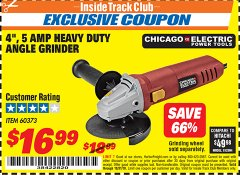 Harbor Freight ITC Coupon 4'', 5 AMP HEAVY DUTY ANGLE GRINDER Lot No. 60373 Expired: 10/31/18 - $16.99