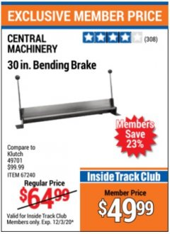 Harbor Freight Coupon 30'' BENDING BRAKE Lot No. 67240/61791 Expired: 12/3/20 - $49.99