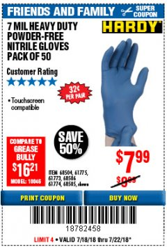 Harbor Freight Coupon 7 MIL HEAVY DUTY POWDER-FREE NITRILE GLOVES PACK OF 50 Lot No. 68504/61775/61773/68506/61774/68505 Expired: 7/22/18 - $7.99