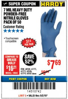 Harbor Freight Coupon 7 MIL HEAVY DUTY POWDER-FREE NITRILE GLOVES PACK OF 50 Lot No. 68504/61775/61773/68506/61774/68505 Expired: 9/2/18 - $7.69