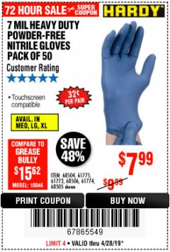 Harbor Freight Coupon 7 MIL HEAVY DUTY POWDER-FREE NITRILE GLOVES PACK OF 50 Lot No. 68504/61775/61773/68506/61774/68505 Expired: 4/28/19 - $7.99