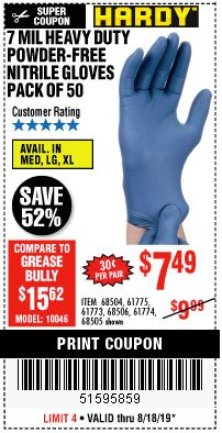 Harbor Freight Coupon 7 MIL HEAVY DUTY POWDER-FREE NITRILE GLOVES PACK OF 50 Lot No. 68504/61775/61773/68506/61774/68505 Expired: 8/18/19 - $7.49