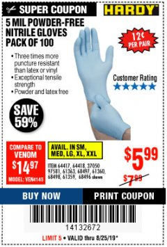 Harbor Freight Coupon 7 MIL HEAVY DUTY POWDER-FREE NITRILE GLOVES PACK OF 50 Lot No. 68504/61775/61773/68506/61774/68505 Expired: 8/25/19 - $5.99