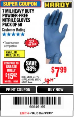 Harbor Freight Coupon 7 MIL HEAVY DUTY POWDER-FREE NITRILE GLOVES PACK OF 50 Lot No. 68504/61775/61773/68506/61774/68505 Expired: 9/9/19 - $7.99