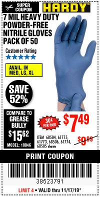 Harbor Freight Coupon 7 MIL HEAVY DUTY POWDER-FREE NITRILE GLOVES PACK OF 50 Lot No. 68504/61775/61773/68506/61774/68505 Valid Thru: 11/17/19 - $7.49