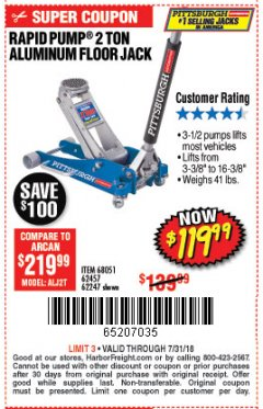 Harbor Freight Coupon RAPID PUMP 2 TON CAPACITY ALUMINUM RACING JACK Lot No. 68051/61406/62247/62457 Expired: 7/31/18 - $119.99