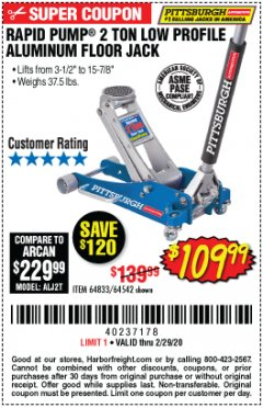 Harbor Freight Coupon RAPID PUMP 2 TON LOW PROFILE ALUMINUM FLOOR JACK Lot No. 64833/62247/62457/64542 Expired: 2/29/20 - $109.99