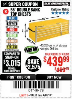 "Harbor Freight Coupon 56"" DOUBLE BANK TOP CHESTS Lot No. 64135/64166/64455/64456/64863/64865/56113/56114/56115 Expired: 4/28/19 - $439.99"