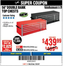 "Harbor Freight Coupon 56"" DOUBLE BANK TOP CHESTS Lot No. 64135/64166/64455/64456/64863/64865/56113/56114/56115 Expired: 7/29/18 - $439.99"