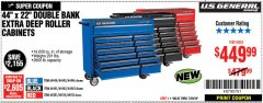 "Harbor Freight Coupon 44"" X 22"" DOUBLE BANK EXTRA DEEP ROLLER CABINETS Lot No. 64444/64445/64446/64441/64442/64443/64281/64134/64133 Expired: 7/29/18 - $449.99"