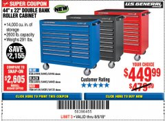 "Harbor Freight Coupon 44"" X 22"" DOUBLE BANK EXTRA DEEP ROLLER CABINETS Lot No. 64444/64445/64446/64441/64442/64443/64281/64134/64133 Expired: 8/5/18 - $449.99"