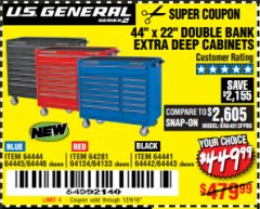 "Harbor Freight Coupon 44"" X 22"" DOUBLE BANK EXTRA DEEP ROLLER CABINETS Lot No. 64444/64445/64446/64441/64442/64443/64281/64134/64133 Expired: 12/9/18 - $449.99"