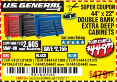 "Harbor Freight Coupon 44"" X 22"" DOUBLE BANK EXTRA DEEP ROLLER CABINETS Lot No. 64444/64445/64446/64441/64442/64443/64281/64134/64133 Valid Thru: 12/26/18 - $449.99"