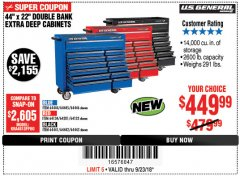 "Harbor Freight Coupon 44"" X 22"" DOUBLE BANK EXTRA DEEP ROLLER CABINETS Lot No. 64444/64445/64446/64441/64442/64443/64281/64134/64133 Expired: 9/23/18 - $449.99"