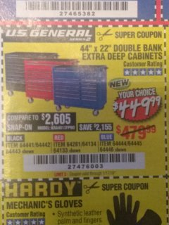 "Harbor Freight Coupon 44"" X 22"" DOUBLE BANK EXTRA DEEP ROLLER CABINETS Lot No. 64444/64445/64446/64441/64442/64443/64281/64134/64133 Valid Thru: 1/17/19 - $449.99"