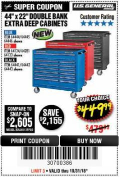 "Harbor Freight Coupon 44"" X 22"" DOUBLE BANK EXTRA DEEP ROLLER CABINETS Lot No. 64444/64445/64446/64441/64442/64443/64281/64134/64133 Expired: 10/31/18 - $449.99"