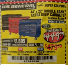 "Harbor Freight Coupon 44"" X 22"" DOUBLE BANK EXTRA DEEP ROLLER CABINETS Lot No. 64444/64445/64446/64441/64442/64443/64281/64134/64133 Valid Thru: 1/4/19 - $449.99"