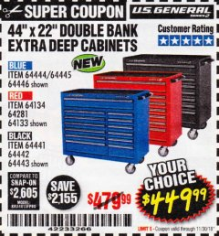"Harbor Freight Coupon 44"" X 22"" DOUBLE BANK EXTRA DEEP ROLLER CABINETS Lot No. 64444/64445/64446/64441/64442/64443/64281/64134/64133 Expired: 11/30/18 - $449.99"