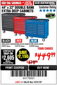 "Harbor Freight Coupon 44"" X 22"" DOUBLE BANK EXTRA DEEP ROLLER CABINETS Lot No. 64444/64445/64446/64441/64442/64443/64281/64134/64133 Valid Thru: 12/31/18 - $449.99"