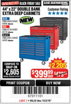 "Harbor Freight Coupon 44"" X 22"" DOUBLE BANK EXTRA DEEP ROLLER CABINETS Lot No. 64444/64445/64446/64441/64442/64443/64281/64134/64133 Expired: 12/2/18 - $399"