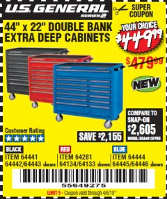 "Harbor Freight Coupon 44"" X 22"" DOUBLE BANK EXTRA DEEP ROLLER CABINETS Lot No. 64444/64445/64446/64441/64442/64443/64281/64134/64133 Valid Thru: 4/6/19 - $449.99"
