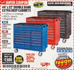 "Harbor Freight Coupon 44"" X 22"" DOUBLE BANK EXTRA DEEP ROLLER CABINETS Lot No. 64444/64445/64446/64441/64442/64443/64281/64134/64133/64954/64955/64956 Expired: 2/28/19 - $449.99"