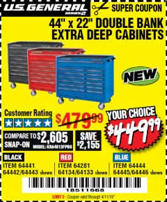 "Harbor Freight Coupon 44"" X 22"" DOUBLE BANK EXTRA DEEP ROLLER CABINETS Lot No. 64444/64445/64446/64441/64442/64443/64281/64134/64133/64954/64955/64956 Expired: 4/11/19 - $449.99"