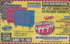 "Harbor Freight Coupon 44"" X 22"" DOUBLE BANK EXTRA DEEP ROLLER CABINETS Lot No. 64444/64445/64446/64441/64442/64443/64281/64134/64133/64954/64955/64956 Expired: 4/13/19 - $449.99"