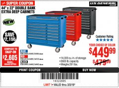 "Harbor Freight Coupon 44"" X 22"" DOUBLE BANK EXTRA DEEP ROLLER CABINETS Lot No. 64444/64445/64446/64441/64442/64443/64281/64134/64133/64954/64955/64956 Expired: 3/3/19 - $449.99"