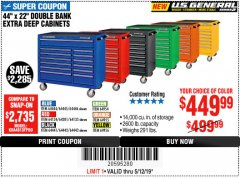 "Harbor Freight Coupon 44"" X 22"" DOUBLE BANK EXTRA DEEP ROLLER CABINETS Lot No. 64444/64445/64446/64441/64442/64443/64281/64134/64133/64954/64955/64956 Expired: 5/12/19 - $449.99"